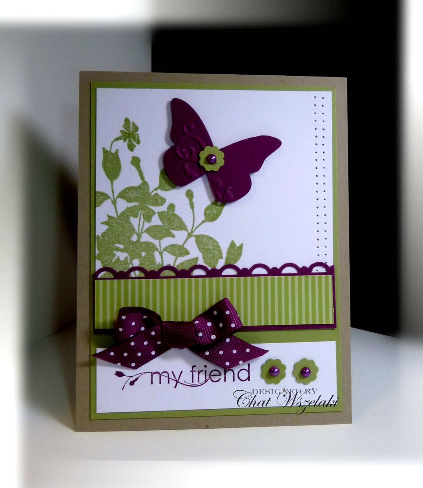 Nice use of striped paper and edge punch with stamped background and