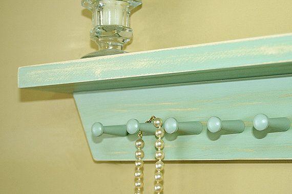 Jewelry Holder Shelf Vintage Pale Jade Shelf by GardenCricket, $24.00