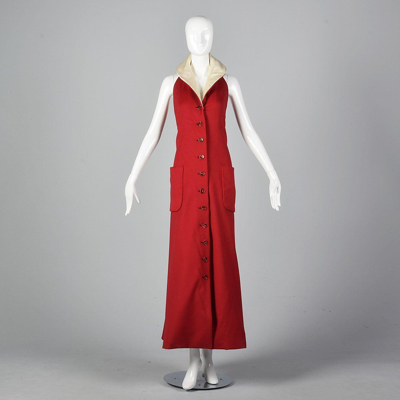 f780fd62fe 1970s Geoffrey Beene Red Wool Maxi Dress in 2019