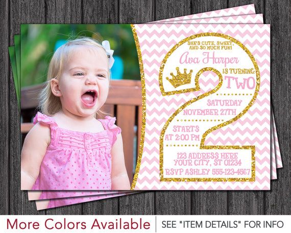 Pink And Gold 2nd Birthday Invitations