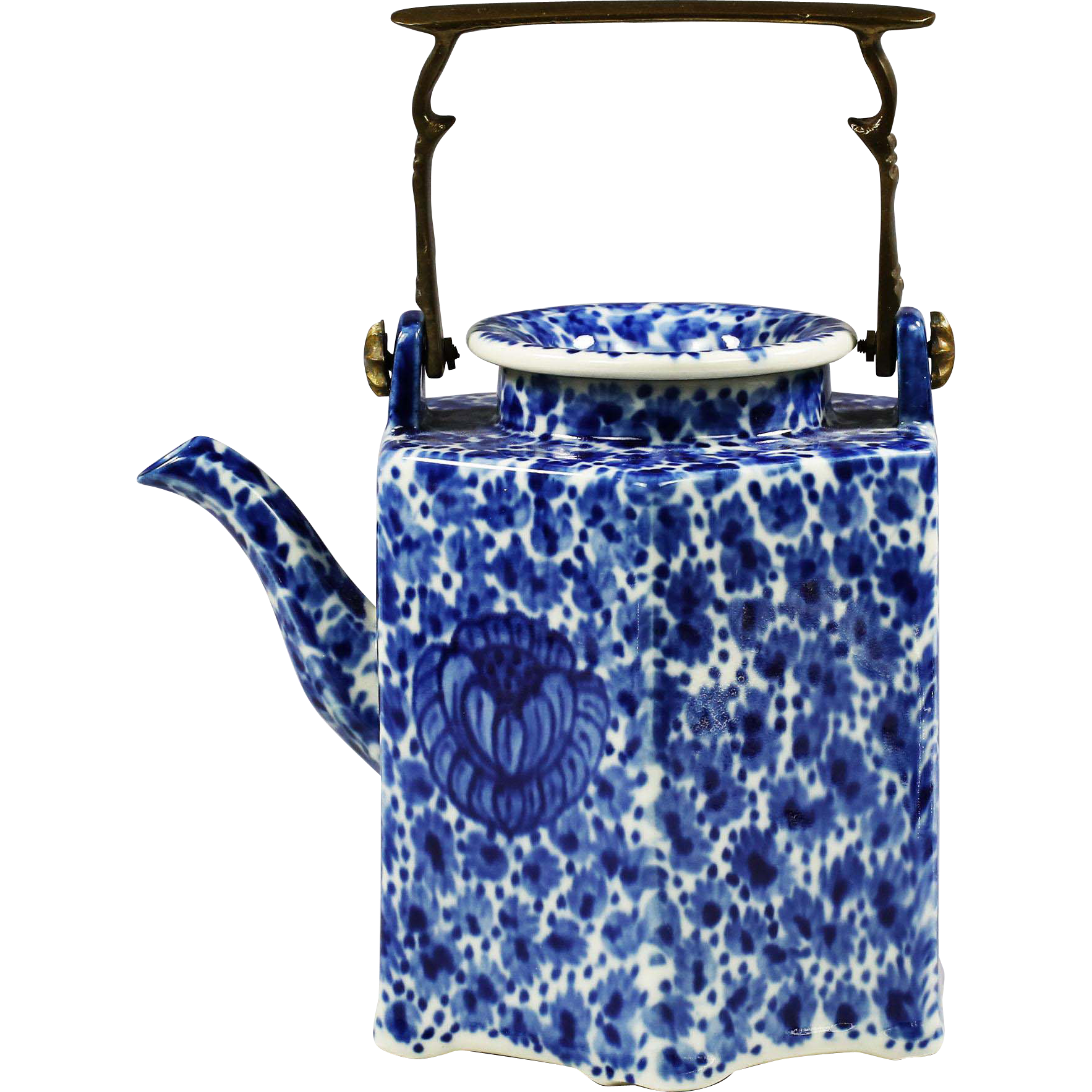 Antique British Flow Blue Teapot 19th century Coffee Pot with bronze handle --found at www.rubylane.com #vintagebeginshere