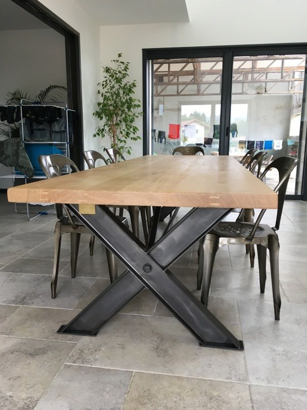 superbe table industrielle pieds x en ipn de 3 m cuisine kitchen pinterest table. Black Bedroom Furniture Sets. Home Design Ideas