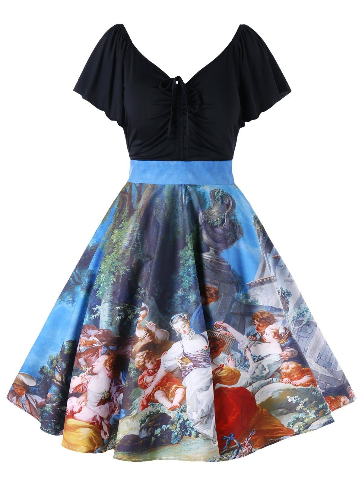 a1ed6136ee Plus Size Painting Butterfly Sleeve Vintage Dress - COLORMIX 2XL