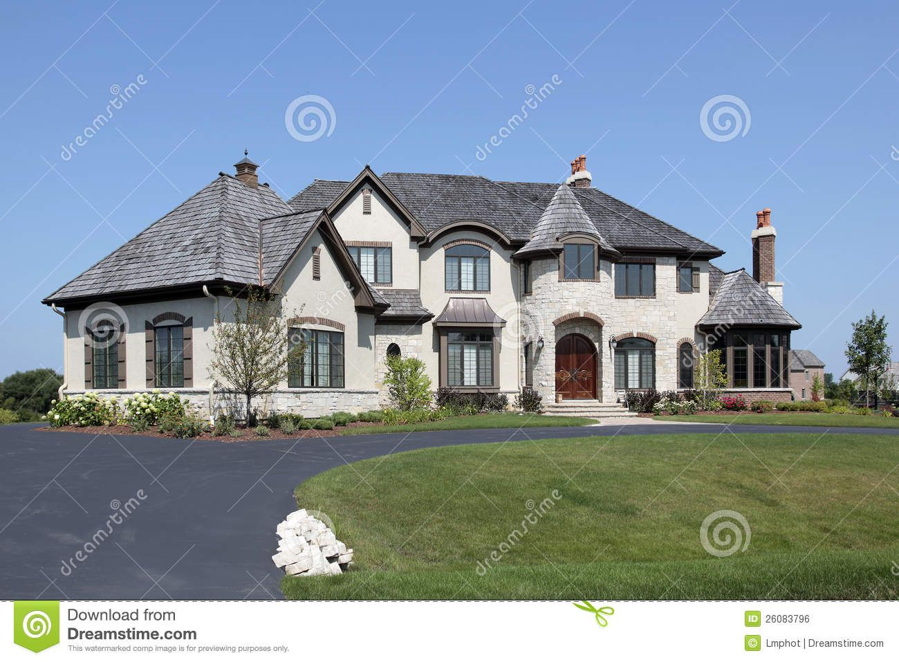 House Turret Design Suburban Home With Royalty