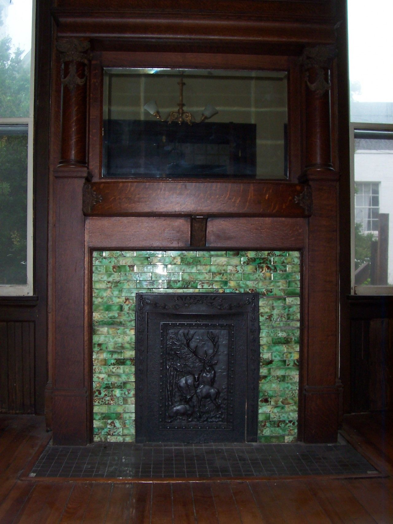 Woods Vintage Home Interiors Green Mosaic Tile Fireplace Surround Plus Wood Mantel