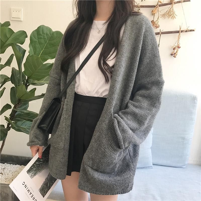 Photo of LOOSE KNIT GRAY BROWN COZY CARDIGAN