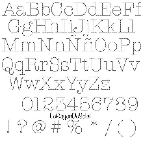 Cross stitch pattern font American typewriter alphabet