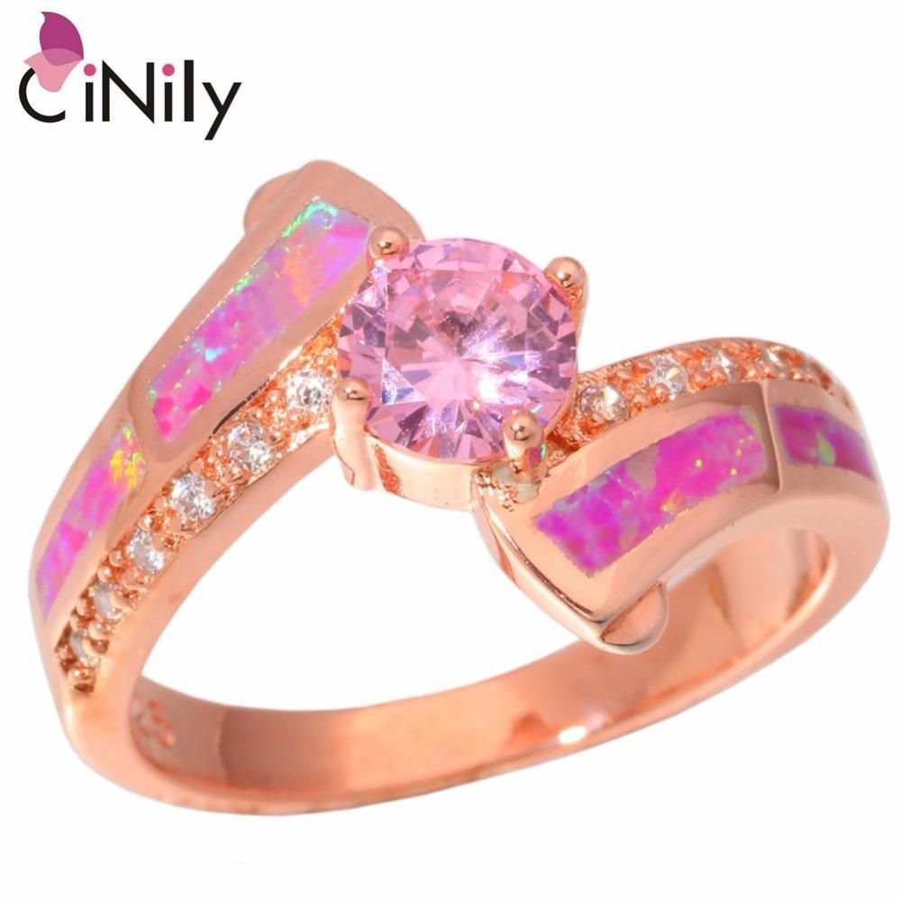 Created Pink Fire Opal Pink Zircon Cubic Zirconia Rose Gold ...