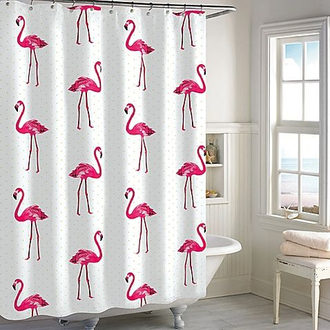 destinations pink flamingo shower curtain for lana - Pink Flamingo Bath Decor
