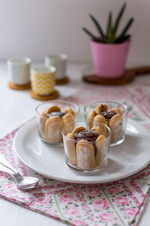 Verrines chocolat, cœur coco et biscuits cuillère #dessertfacileetrapide