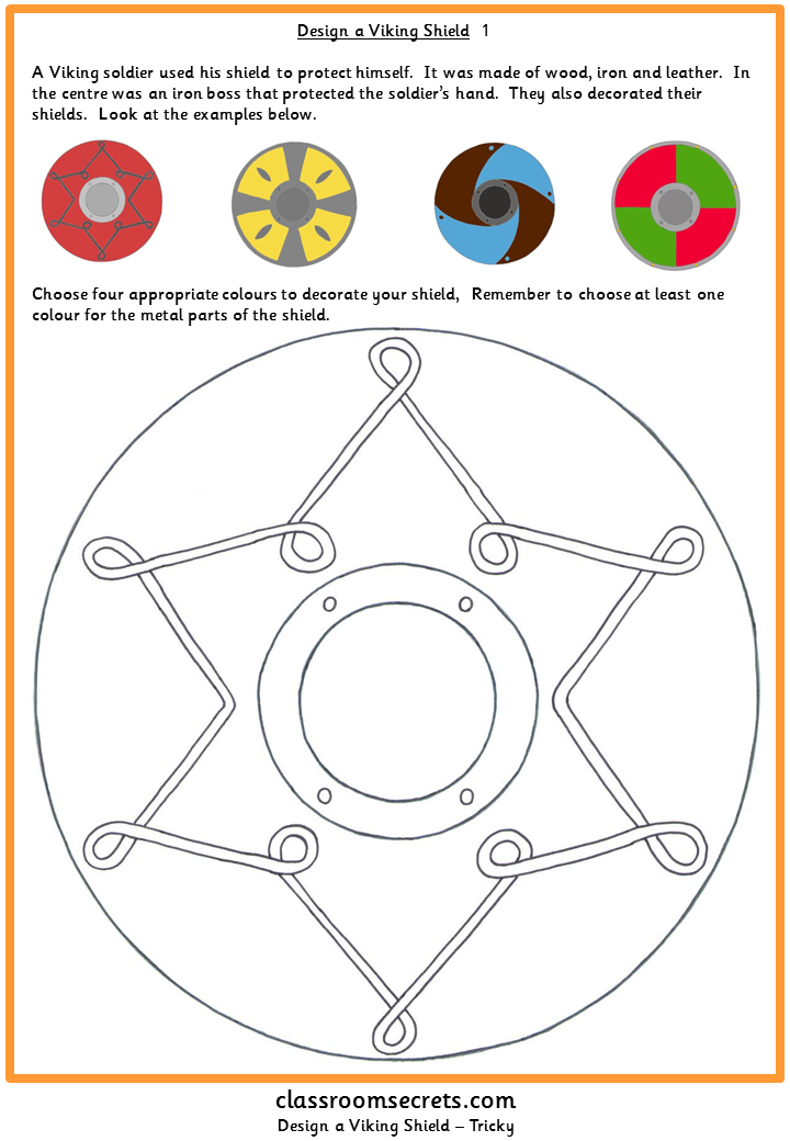 Worksheet activity to design a viking shield. Aimed at Primary Key ...