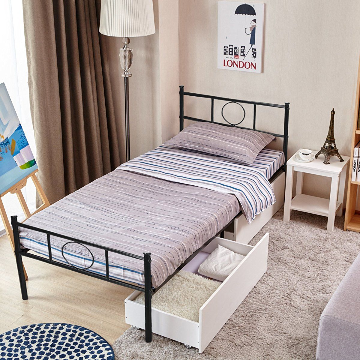 Greenforest Twin Size Bed Frame Stable Metal Slat Support No Boxspring Needed With Headboard Black With Images