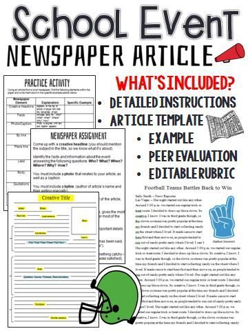 School Event Newspaper Article Peer Review Template  Editable