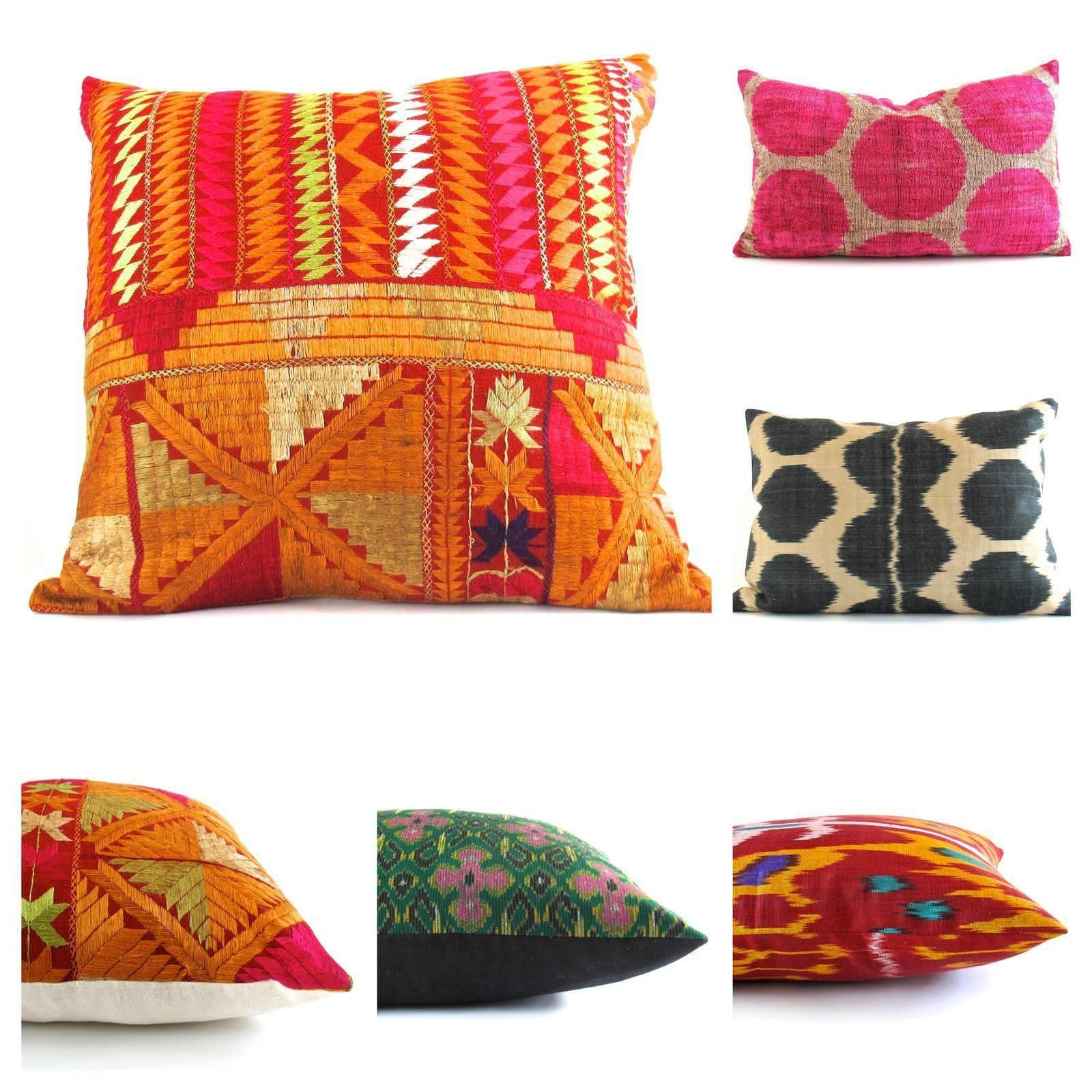 Saturday Pillow Play Phulkari Ikat India Thailand Uzbekistan Theworld Pillows Theloadedtrunk Textiles Pillows Throw Pillows Global Home