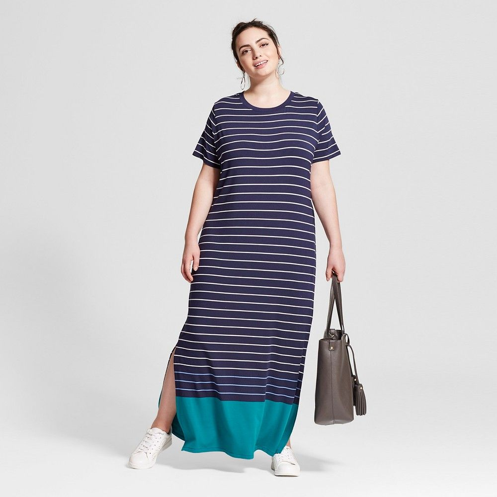 959c8e58593 Women s Plus Size T-Shirt Maxi Dress Navy Stripe 3X - Ava   Viv ...