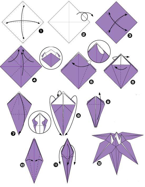 Origami 3d Bloem Iris Diy Origami Pinterest Origami Flores