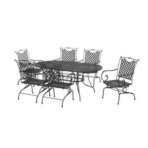 Black Wrought Iron 7 Piece Lattice Back Patio Dining Set Discontinued W3929 L 7bk The Home Depot