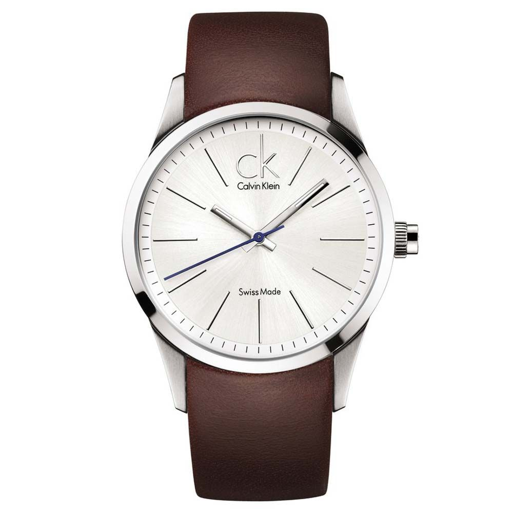 calvin klein k2241138 men s silver dial brown leather strap calvin klein k2241138 men s silver dial brown leather strap stainless steel watch
