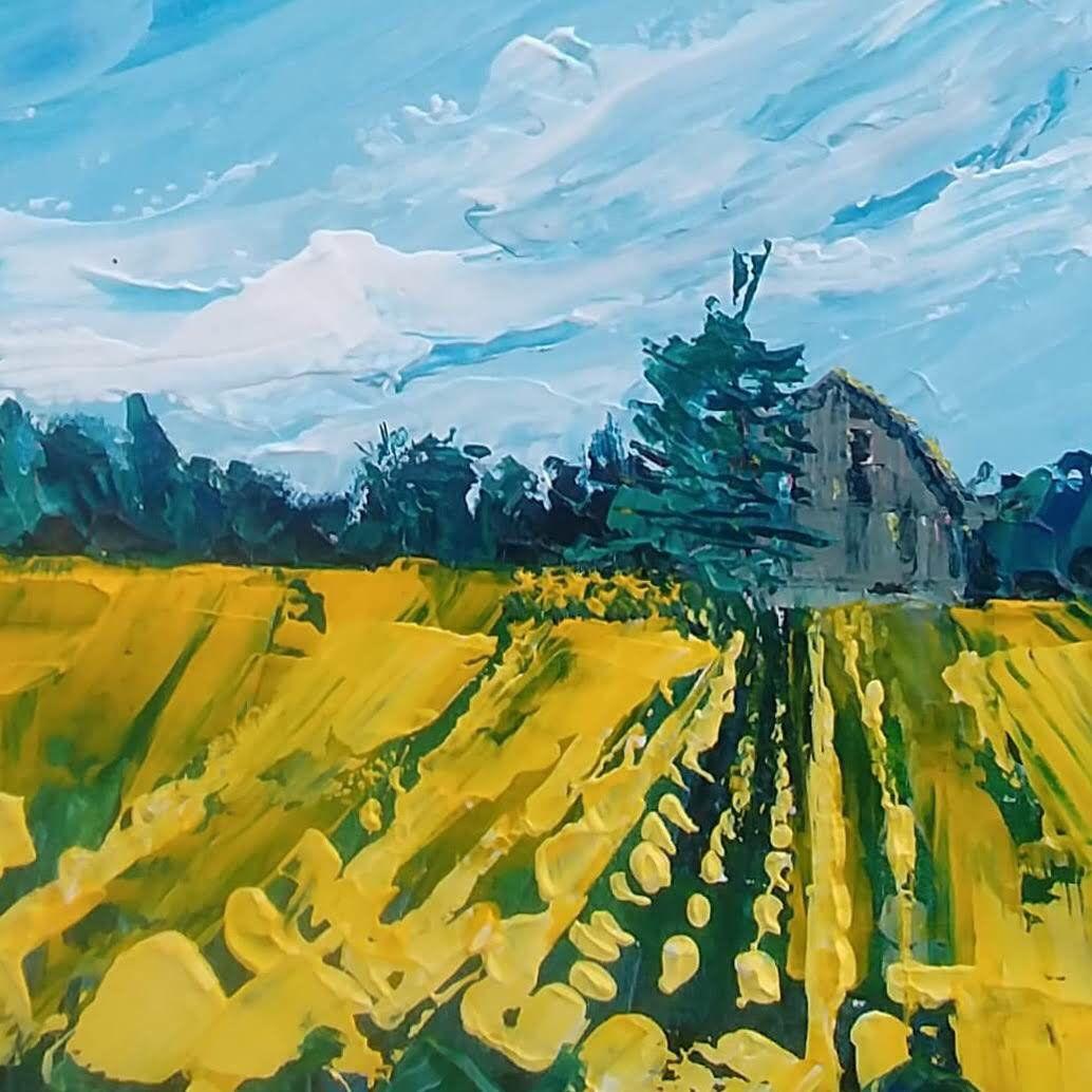 Norfolk Sunflowers 16x16 Plein Air Palette Knife Painting