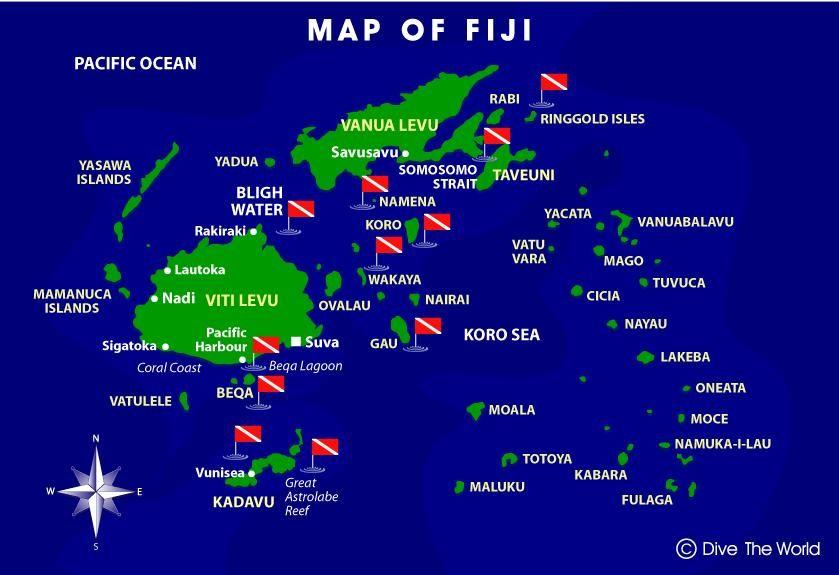 Map of Fiji PLACES Pinterest Fiji - new world map fiji country