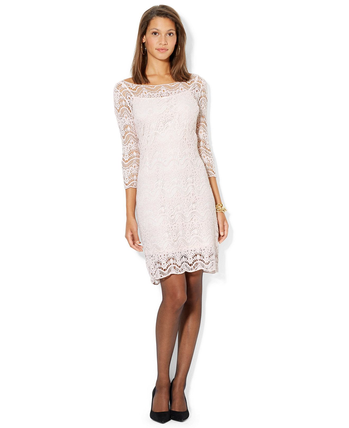 e384f7ecfd1 Lauren Ralph Lauren Three-Quarter-Sleeve Boat-Neck Lace Dress - Dresses -  Women - Macy s