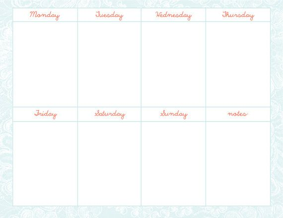 $1 weekly schedule template Printable Pinterest Schedule - Weekly Schedule Template