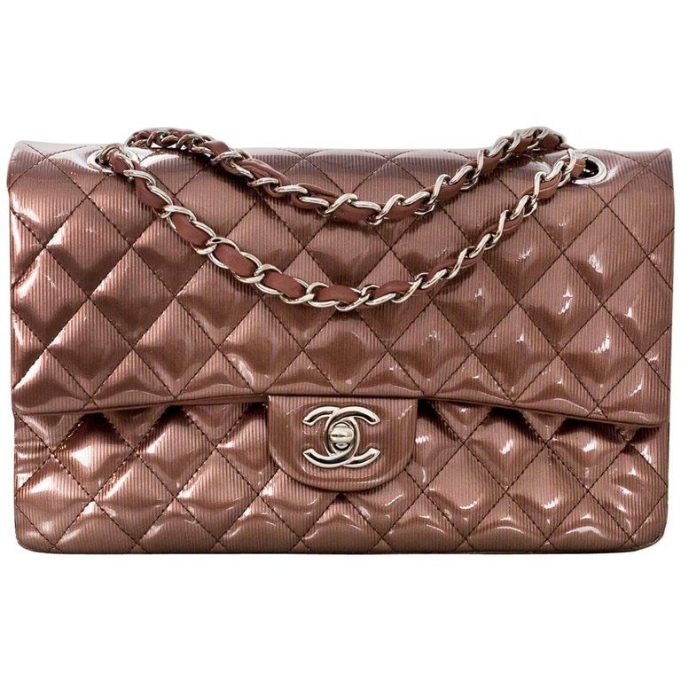 d5fab3bbe0d8 For Sale on 1stdibs - Chanel Pink Rose Fonce Quilted Striated Patent 10