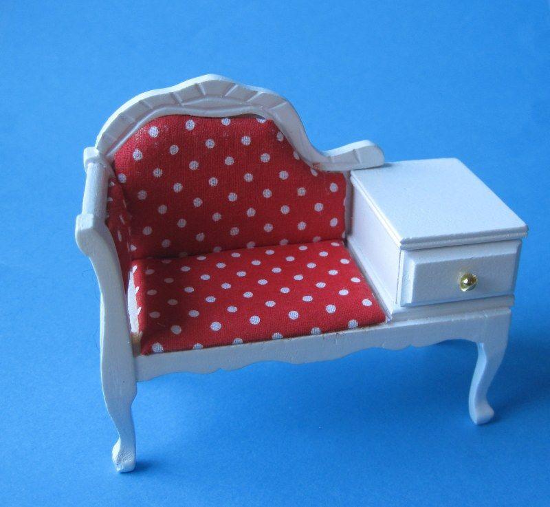 Puppenhaus Telefonbank Telefonsofa Weiss Möbel Miniaturen 1:12   Büro  Arbeitszimmer Puppenhausmöbel   Wossiland