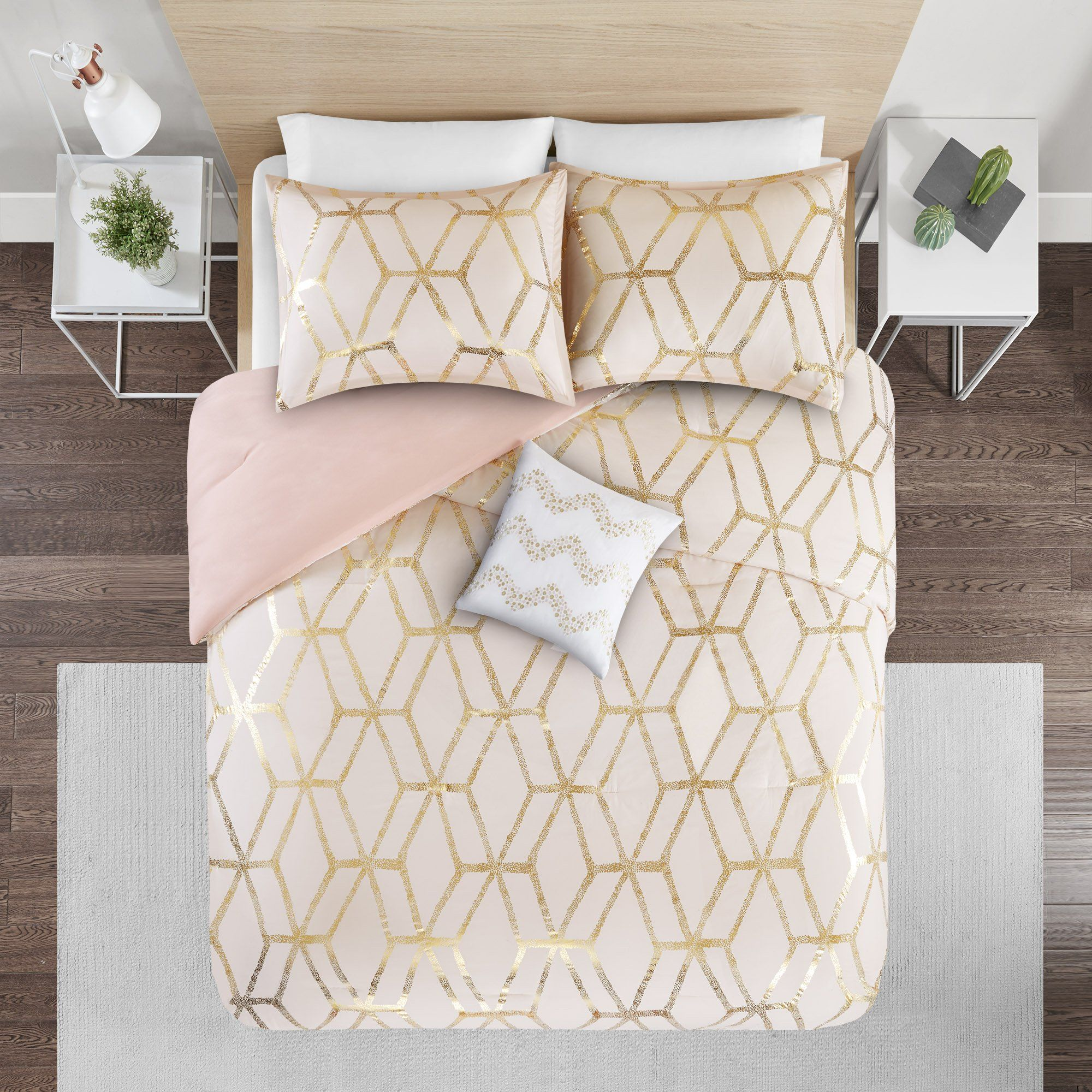 Comforter Set Twin Bedding Set Vivian 3 Piece Blush Pink Gold Geometric Metallic Print Hypoallergenic So Comforter Sets Hypoallergenic Bedding Twin Bed Sets
