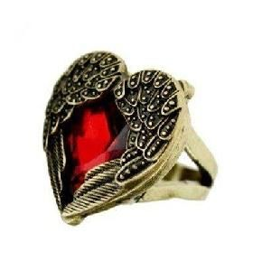 Cute Sweet Heart and Wing Retro Style Bronze Color Ring, Size About 6