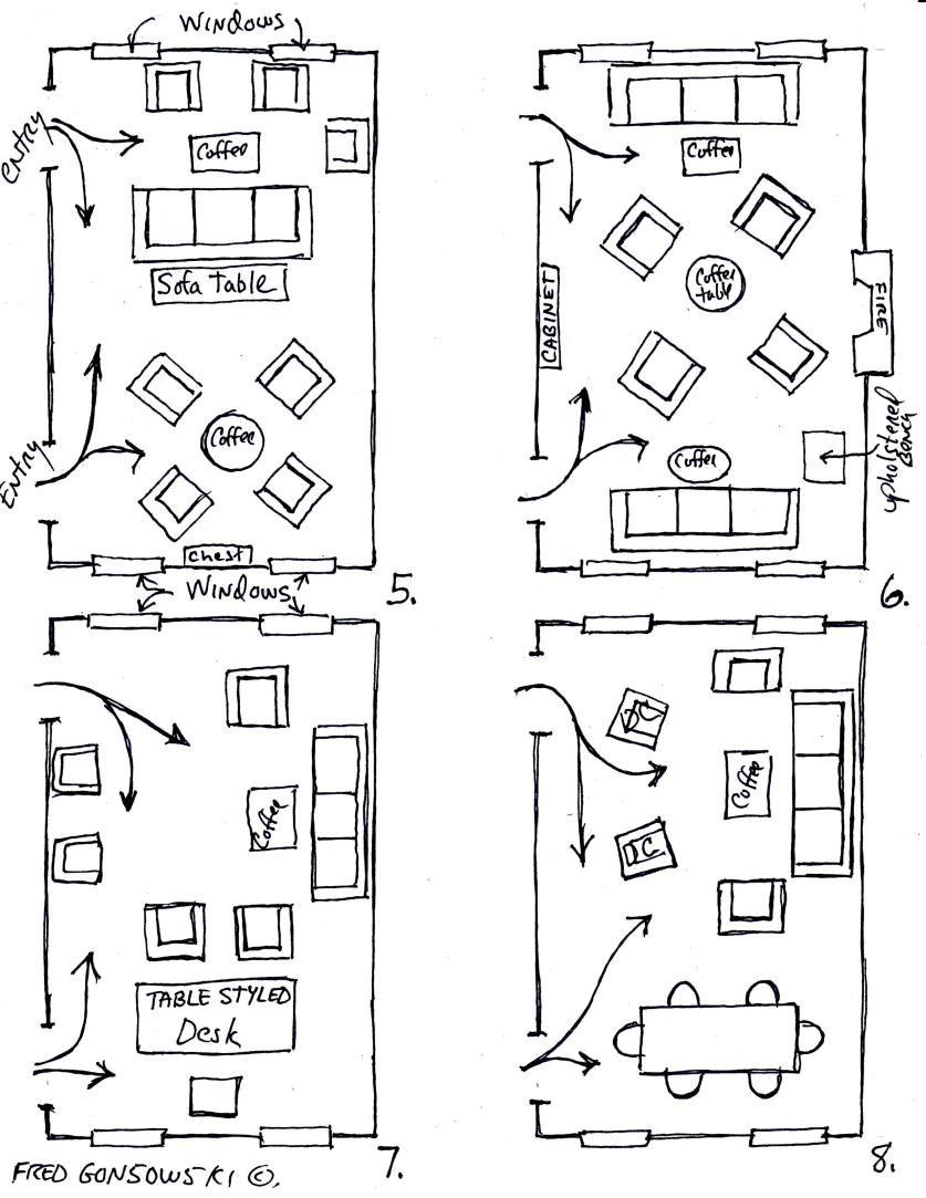 Arranging Furniture Twelve Different Ways In The Same Room Dining Room Layout Rectangular Living Rooms Living Room Floor Plans