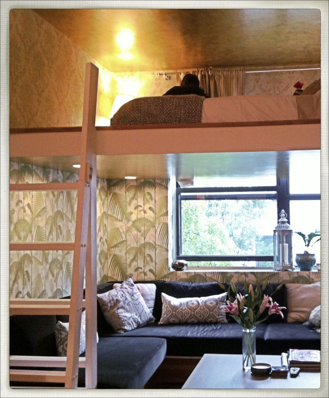 Small spaces Loft beds, Tropical wallpaper from Cole and