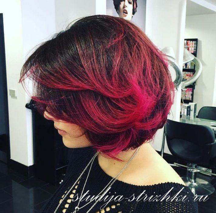 Омбре черно красное на волосах