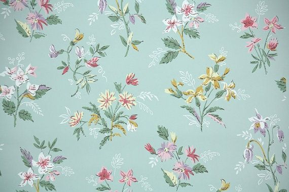 1950 S Vintage Wallpaper Fl Robin Egg Blue Background With Pink And Yellow Flowers