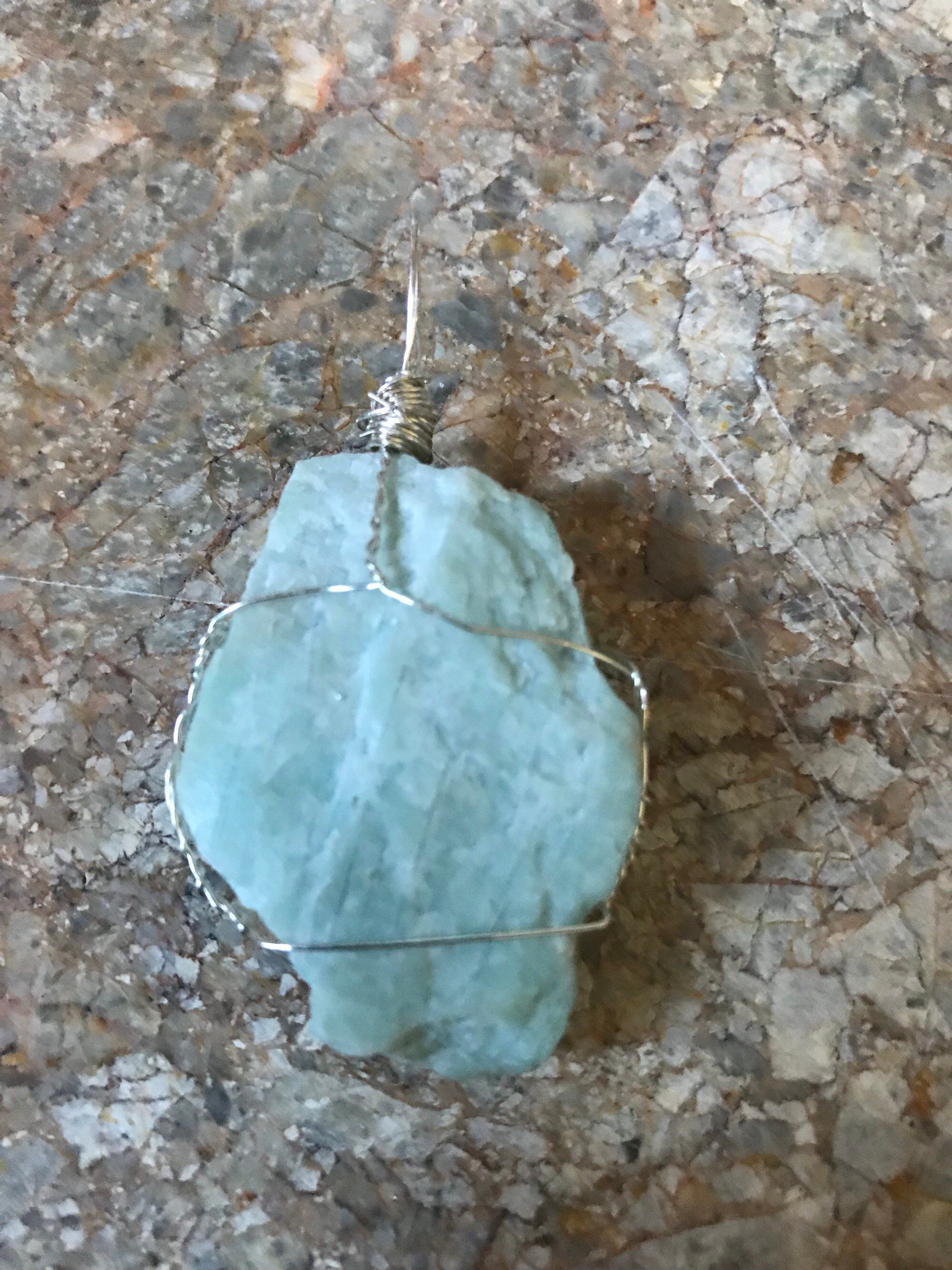 Amazonite Wire Wrapped Pendant Necklace Chakra And Reiki Healing