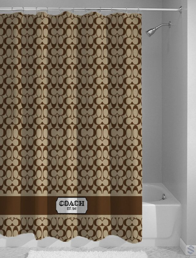 Coach Brown Pattern Custom Shower Curtain Cheap Custom Shower