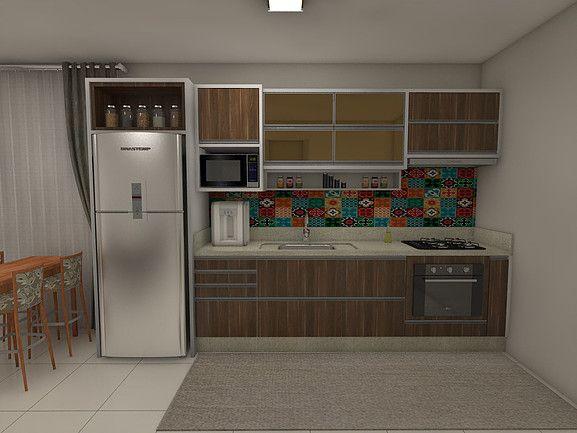 Adesivo De Lidocaina ~ Cozinha compacta com armários em MDF e portas em vidro bronze Lunki Móveis Planejados