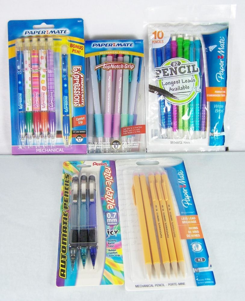 papermate paper mate and pentel pc lot set of automatic   papermate paper mate and pentel 40 pc lot set of automatic mechanical pencils expressions top notch grip sharp writer write bros colorful barrels