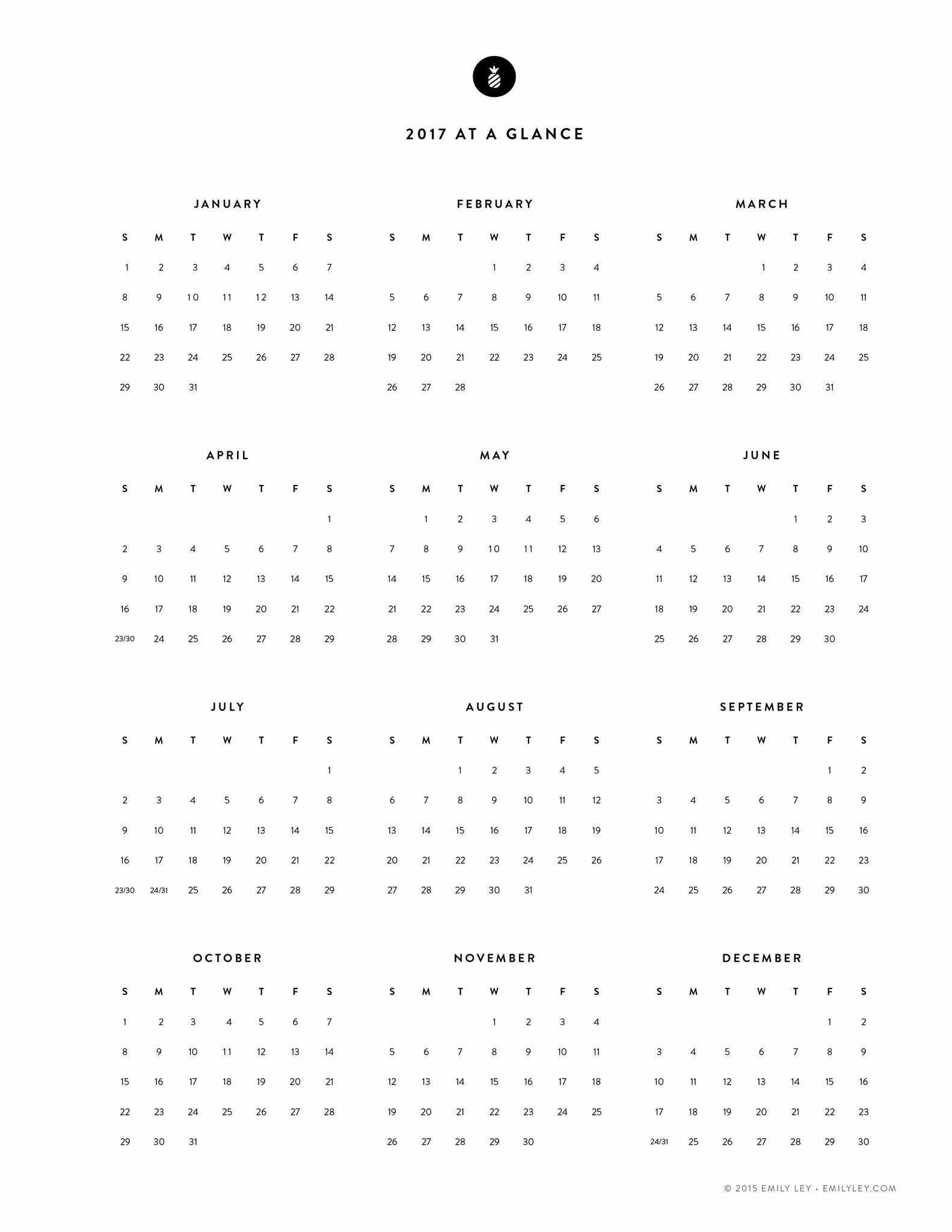 Free Printable  Yearly Calendar  Emily Ley   Calendars