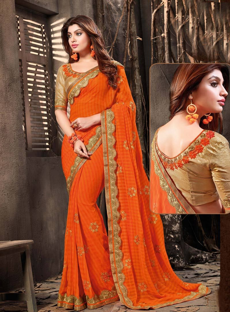Orange Chiffon Festival Wear Saree Chiffon Saree Pinterest