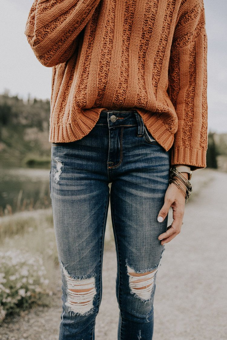 distressed denim | jeans | fall sweaters | knit sweaters | long sleeve | bracelets | casual outfits