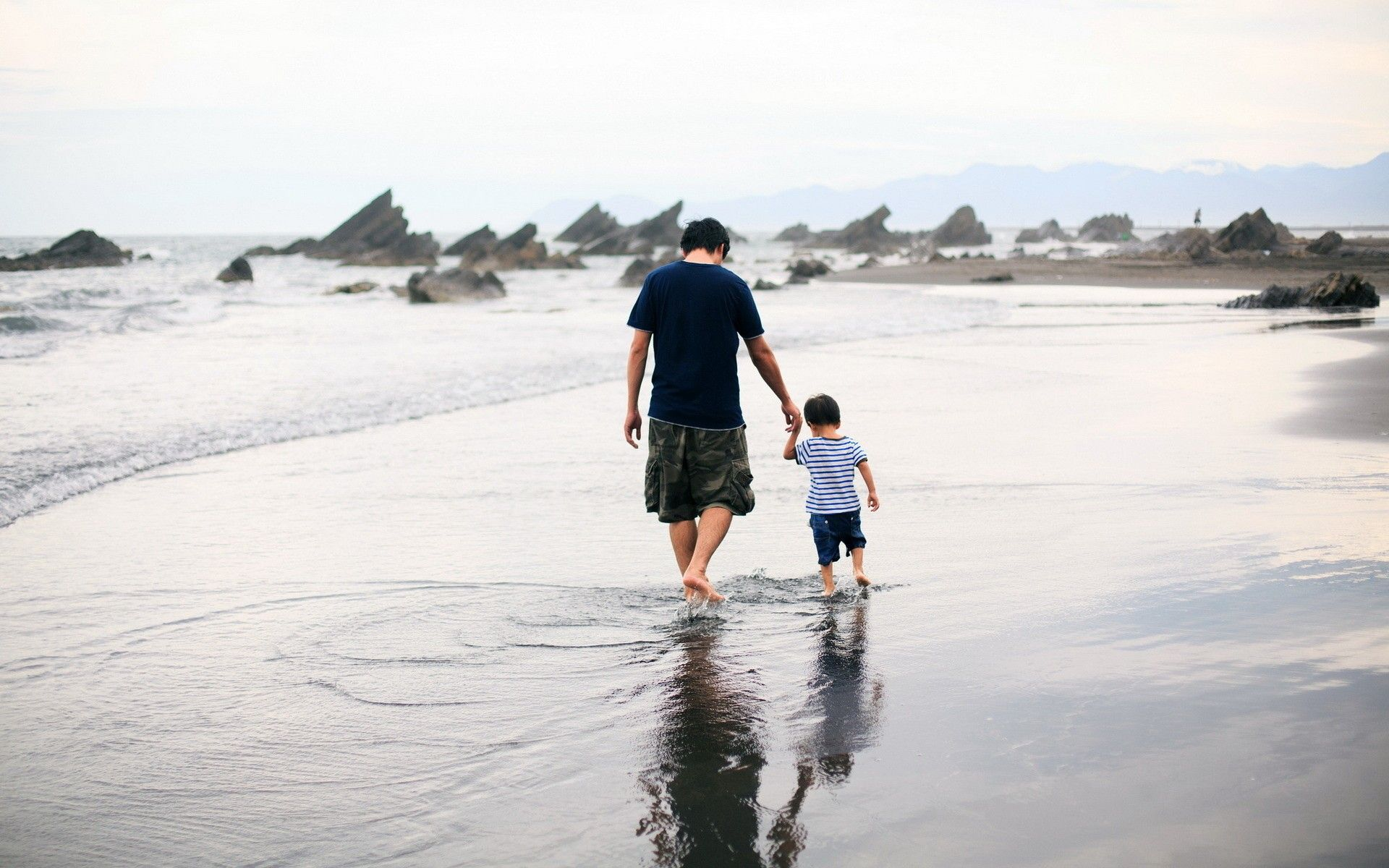 Father And Son Are Walking On The Water Wallpapers And