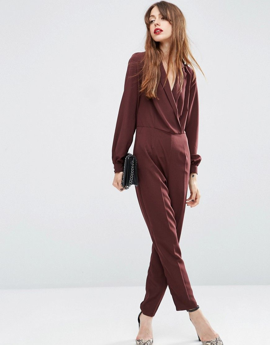 f1eff7d1cc Image 1 of ASOS Long Sleeve Jumpsuit with Collar and Wrap Front ...