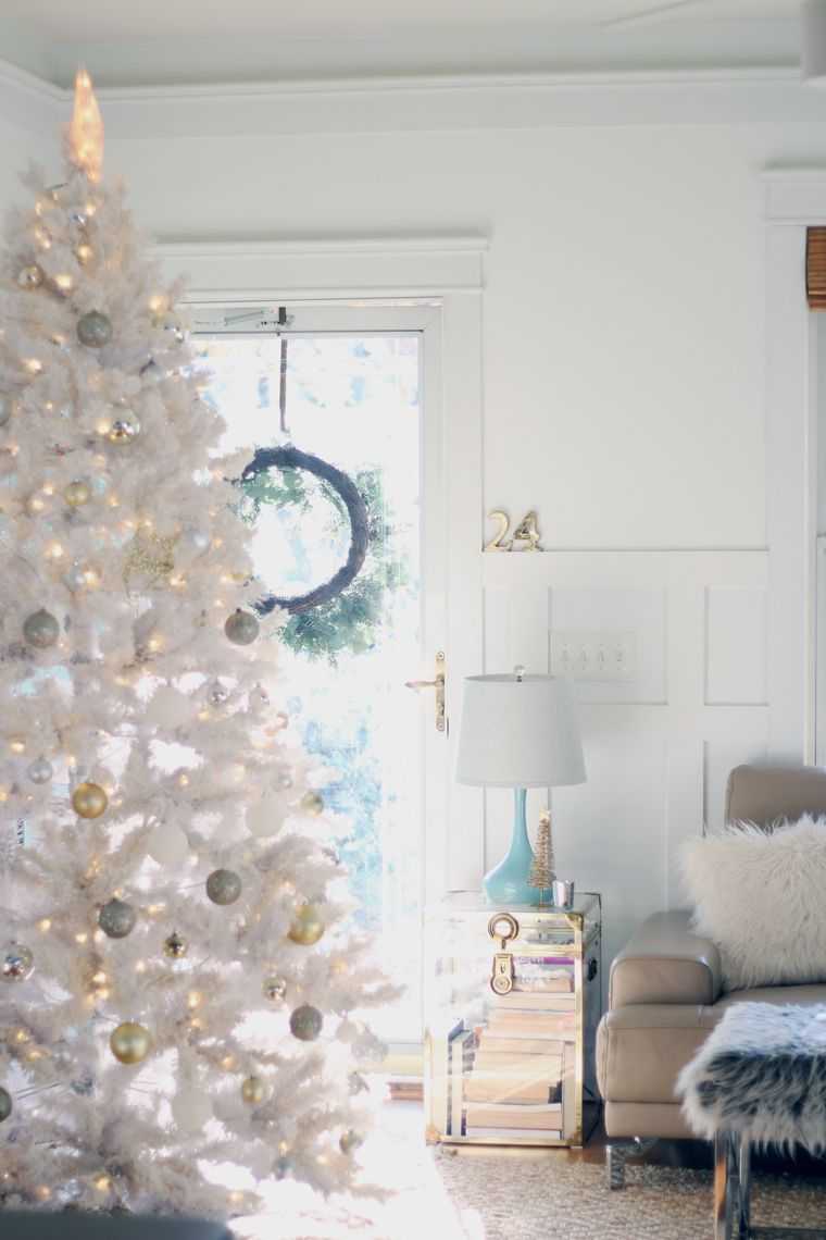 A Gold Silver Christmas Of Lights With At Home Stores White Christmas Tree Decorations Gold Christmas Decorations Silver Christmas