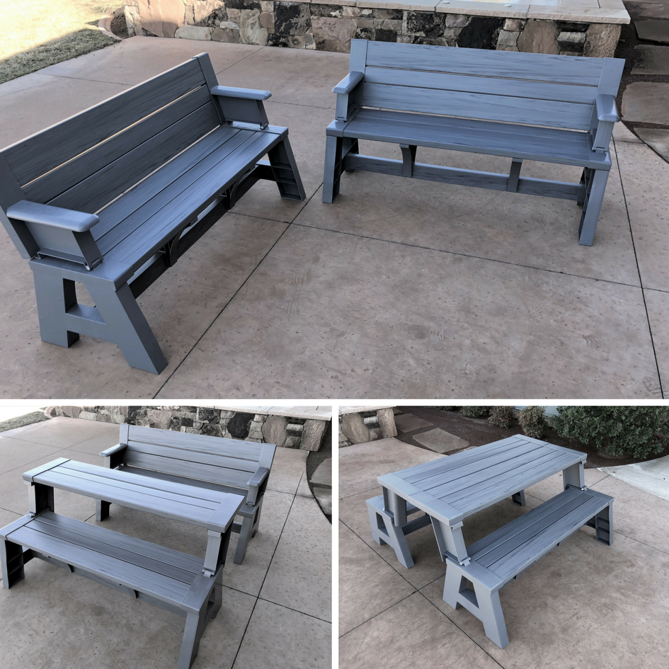 Convert A Bench Folding Picnic Table Bench Platinum Gray Walmart Com Walmart Com In 2020 Folding Picnic Table Bench Picnic Table Bench Picnic Table