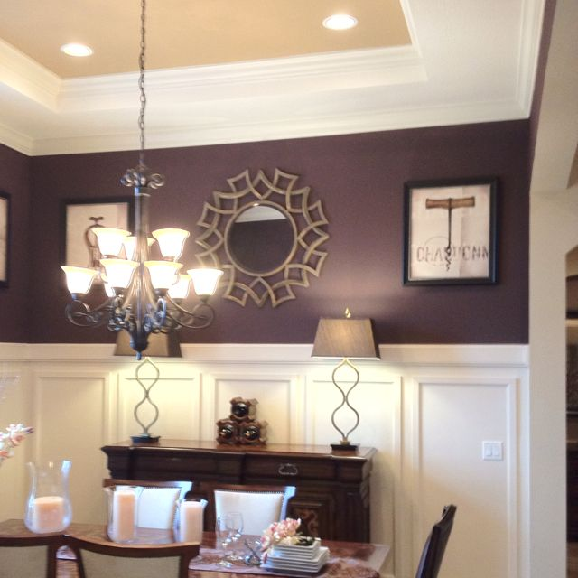Love the dark purple used in this dining room wood work for Purple dining room