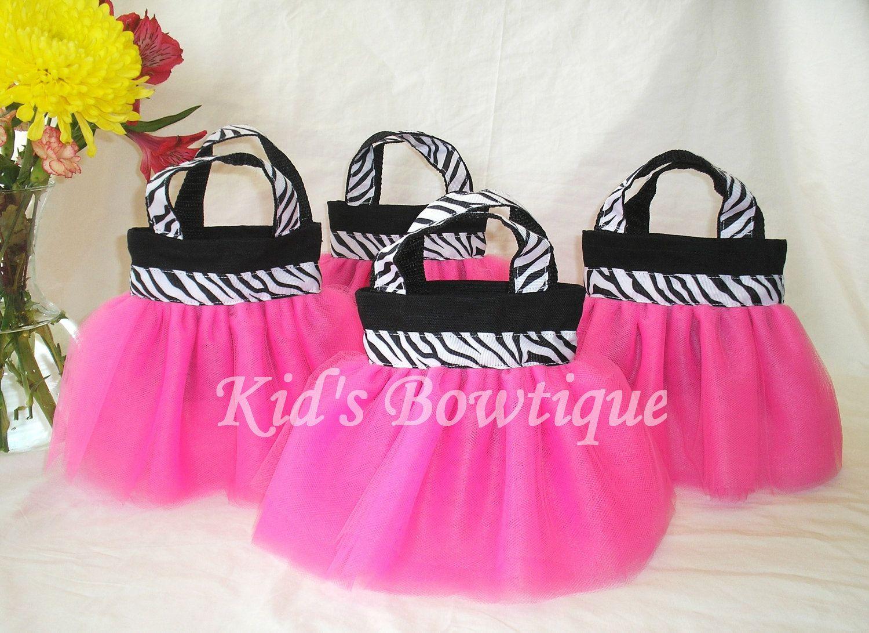 purple divas party Set of 15 Pink Diva Zebra Party Favor Tutu Bags
