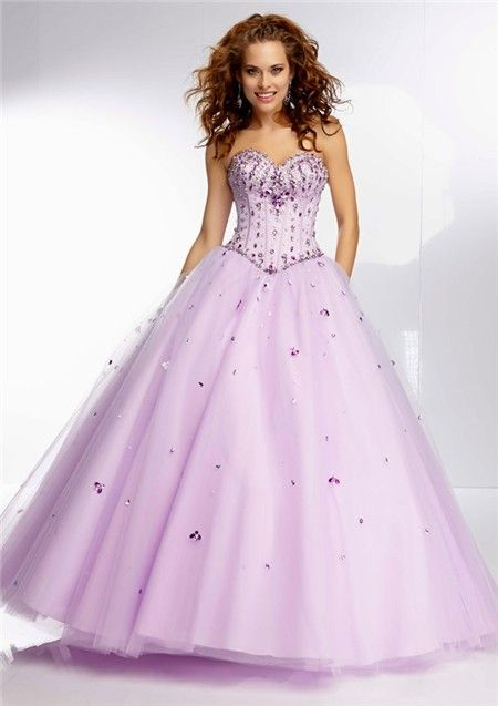 Princess Ball Gown Sweetheart Lilac Purple Satin Tulle Beaded Prom ...