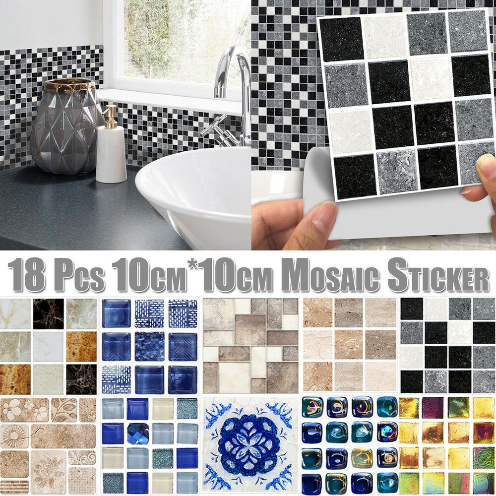 Kitchen Bathroom Tile Mosaic Stickers Self Adhesive Waterproof Home Wall Decor Bathroom Tile Stickers Wall Stickers Tiles Tile Bathroom