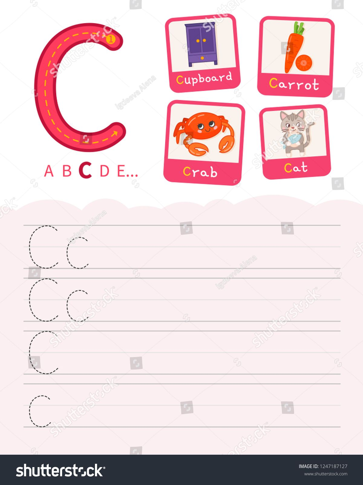 Handwriting practice sheet. Basic writing. Educational game for children. Learning the letters of the English alphabet. Cards with objects. Letter C ,